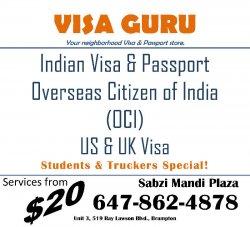 Indian Visa, Passport, PAN Card, OCI, Electronic Visa, US